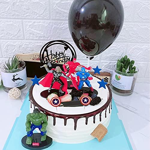Decoración de la Torta, Decoración de la Torta de Superhéroe, Decoración de la Torta de Feliz Cumpleaños, para Pasteles de Cumpleaños Infantiles, Fiestas Temáticas