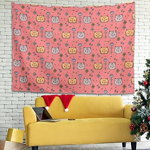 Ballbollbll Tapiz de pared con diseño de gatos y flores de dibujos animados japoneses, para colgar en la pared, para colgar en el porche, tapiz de pared blanco, 200,7 x 149,8 cm