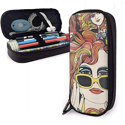 Psychedelic Retro Girl PU Leather Pen Pen Bag 20 * 9 * 4 cm (8X3.5X1.5 Inches) Pouch Case Holder Supplies for Coin Purse Cosmetic