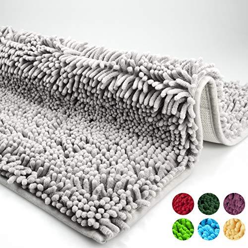 Badmat, badkamermat, badkamervloerkleed antislip, bad vloerkleed zilver grijs, uitwasbaar, mat van Chenille microvezel voor de badkamer, getest op schadelijke stoffen, 50x80cm