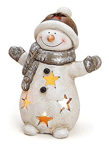 Windlicht Deko Figur Schneemann 15 cm, Ton weiß grau braun, lustige Tonfigur Dekofigur Teelichthalter Winter Weihnachten Winterdeko Windlichter