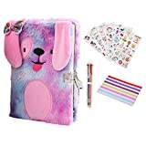 Diary for Girls with Lock and Keys, Plush Dog Secret Diary a Gift Set for Kids, Puppy Dog Diary for Boys Writing Drawing Notebook 160 Pages