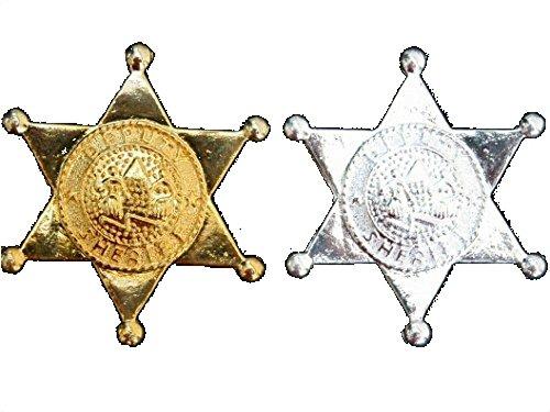 Sheriffstern aus Metall, goldene oder silberne Farbe