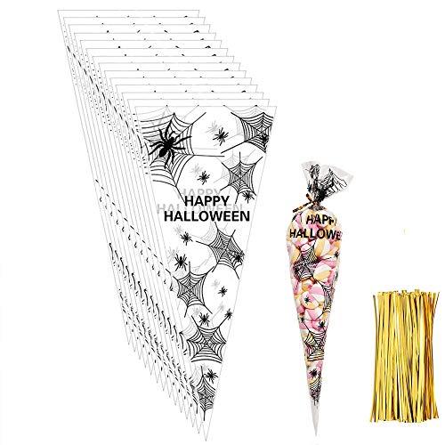 Viccess 200pcs Spinne Cone Cellophan Süßigkeiten Tüten Taschen Geschenktüte Halloween mit 200 Stück Gold Twist Ties für Bonbon Kekse Halloween Party Weihnachten (Spinne)