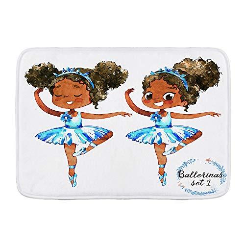 """COVASA Bath Mat Rug,African American Black Girl Ballerina Princess Afro American Teen Girl Gymnastic Ballet Dancer,Plush Bathroom Decor Mats with Non Slip Backing,29.5"""" X 17.5"""""""