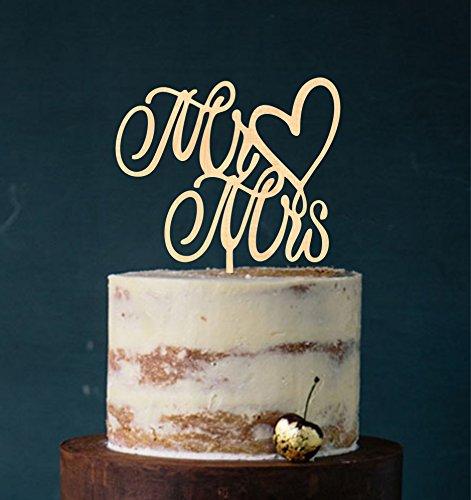 Cake Topper, Mr & Mrs, Tortenstecker, Tortefigur Acryl, Tortenständer Etagere Hochzeit Hochzeitstorte Kuchenaufstecker (Holz (Echtholz))
