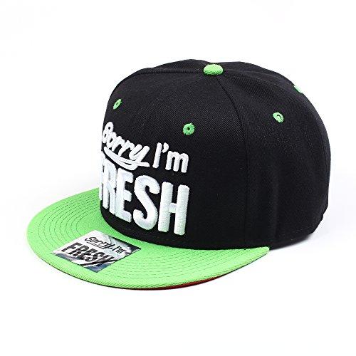 Sorry I'm Fresh Noir et Vert Hip Hop Casquette Réglable (Black & Green Snapback Cap)