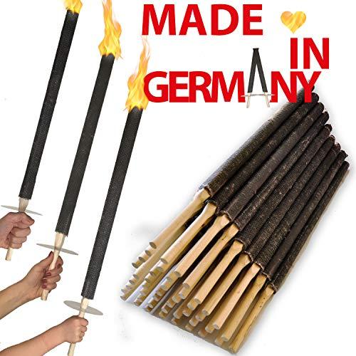 OutdoorBÄR - 50 Stück hochwertige Wachsfackeln mit Handschutzteller | Brenndauer 90 min - Made in Germany - Pechfackeln