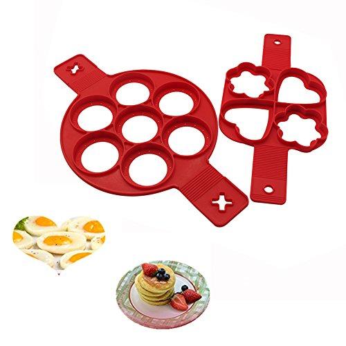 Gabbrein Eier-Ring, Antihaft-Silikonform für runde Eier, Muffins, Pfannkuchen, Herzform, Silikon, rot, 2er-Pack