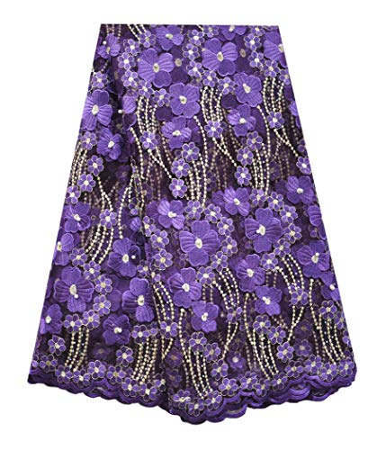 SanVera17 Manual Beading Glitter Stone African Lace Net Fabrics Nigerian Saree Fabric Embroidered and Guipure Cord Lace for Party Wedding (Purple) 5 Yards