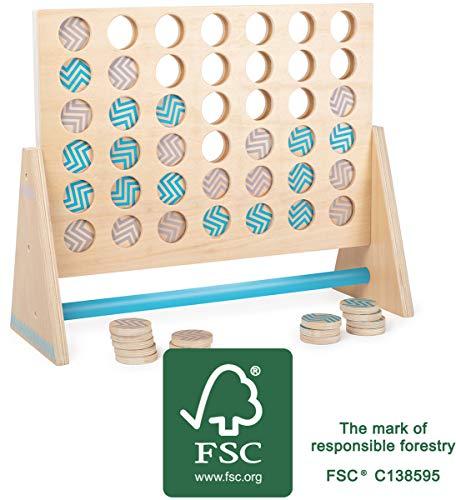 Small Foot 12031 Vier in Einer Reihe XXL Active, aus Holz, FSC 100%-Zertifiziert, Spielklassiker in riesig, Mehrfarbig Spielzeug