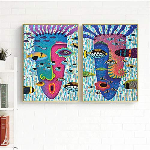 Pintura abstracta sobre lienzo Impresiones divertidos carteles de peces marinos Arte de la pared Critters Cuadros de pared modernos para la decoración de la sala de estar (70x100cm) X2 sin marco