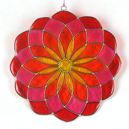 ART-CRAFT Garten Deko Sonnenfänger Suncatcher Fensterschmuck Fenster-Dekoration Mandala rot