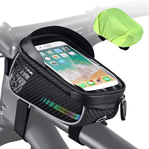 HASAGEI Fahrrad Rahmentasche Wasserdicht - Fahrrad Handyhalterung Ideal zur Navigation, Mountainbike Tasche, Fahrradtasche Rahmen, Fahrradzubehör, Fahrrad Handytasch für Smartphone unter 6,5 Zoll