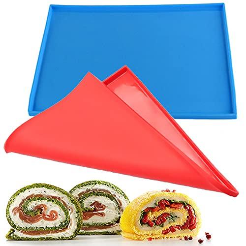 2pz Teglia da forno antiaderente e pieghevole in silicone, tappetino da forno funzionale per macaron per biscotti fai da te , torta, rotolo svizzero, utensili da forno per cottura in cucina,blu,rosso