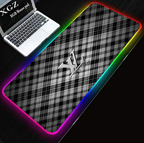Mouse Pads Grey Grid RGB Gaming Mouse Pad Extra Large XL Size Led Gaming Mouse Mat Professional Desk Mat with 14 Lighting Modes (15.7X31.5) Inch