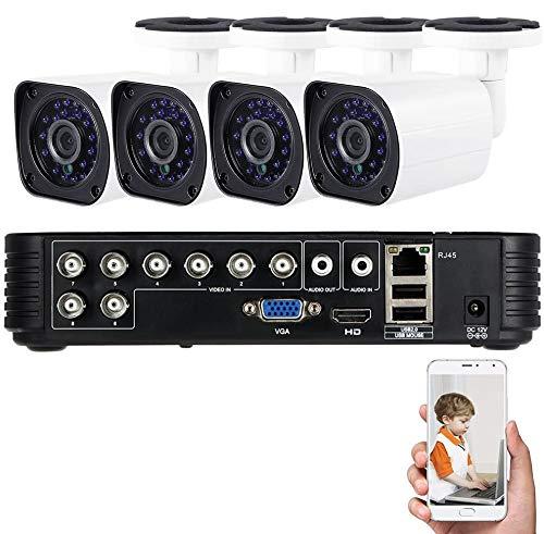 owsoo Kit videovigilancia 1080N Digital Video Recorder + AHD 720P 1500TVL Bullet CCTV Camera impermeable exterior HD P2P Cloud IR-CUT visión nocturna para Android/iOS App para CCTV Seguridad