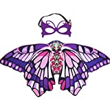 Kids Butterfly Wings Costume for Girls with Dress Up Mask, Fairy Princess Role Play Party Favors (Purple Pink)