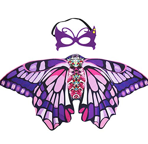 Kids Butterfly Wings Costume for Girls Dress Up Mask - Children Halloween Fairy Princess Role Play Party Favors (Purple Pink)