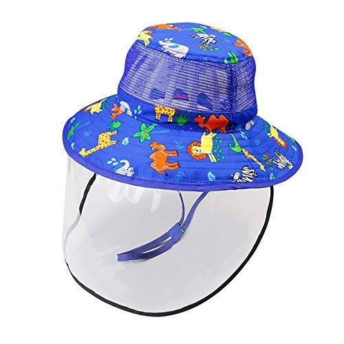 Happy Cherry Sonnenhut mit Kinnriemen Fischerhut mit abnehmbares transparentes Visier Baby Breite Krempe UV Schutz Hut Kinder Sommerhut Blau - Größe M