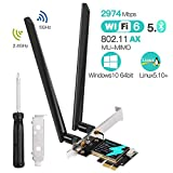 Pci Wifi 6 con AX200, Scheda Rete Wireless 802.11AX 2974 Mbps Dual Band 5 GHz / 2,4 GHz, S...