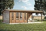 Alpholz Gartenhaus Freiburg mit einfacher Doppeltür aus Massiv-Holz   Gerätehaus mit 44 mm Wandstärke   Garten Holzhaus mit Imprägnierung (pinie)   Geräteschuppen Größe: 755 x 399 cm   Satteldach