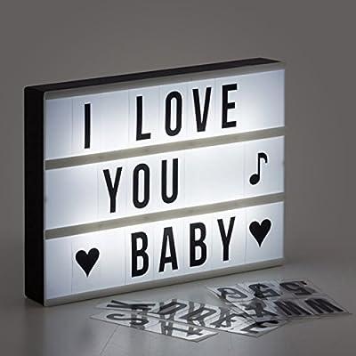 Shop Story–Panel lámpara retroiluminada con customiser personalizar Message Light Box 30x 22x 4cm) incluye 84letras y símbolos formato A4–Grand