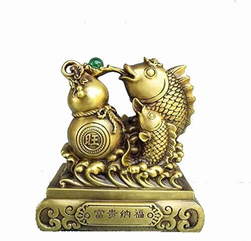 HYBUKDP Estatuas La decoración del hogar de la estatua de bronce puro estatuas peces carpa que salta sobre la puerta del dragón chino Feng Shui Decoración buena suerte riqueza y la felicidad del Minis
