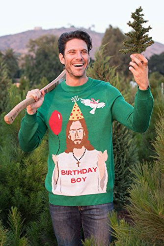 "Tipsy Elves Men's Ugly Christmas Sweater - Happy Birthday Jesus Sweater Green 2 ""****LAST CHANCE! Order Today and Save with our Lowest Priced Deals of the Holiday Season. While supplies last!****"" Tipsy Elves' ugly christmas sweaters are perfect for gifting to all of your friends but most importantly, yourself! Whether you're inside, outside, together or apart, or even stuck in a virtual meeting, whenever you rock your Tipsy Elves gear no one will ever doubt the ferocity of your festive fury. Tipsy Elves' hilariously ugly sweaters are a perfect gift this holiday season, why wait to share the love when you and your friends and family can make everyone laugh with one of our funny sweaters. Whether you're celebrating and matching in person or just catching up online, Tipsy Elves' hilarious holiday clothing will keep everyone looking cozy and warm!"