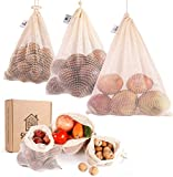 Reusable Produce Bags Cotton Washable with Tare Weight | Reusable Mesh Produce Bags Organic Cotton for Fruits and Veggies Eco Friendly | Reusable Durable Grocery Shopping Storage Bag 9 Pcs(3L,3M,3S)