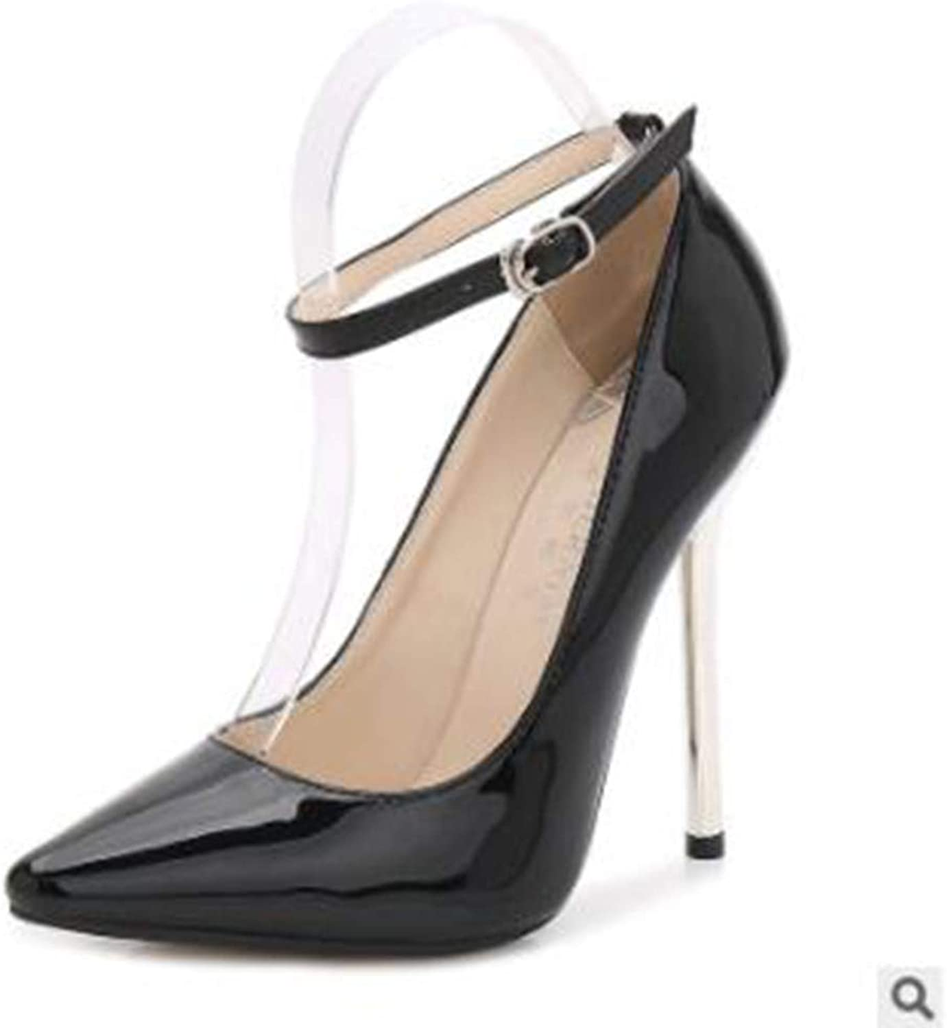 Pophight New 13CM Metal Heel Model and Show Sexy Ankle Strap Pump Large Size High-Heeled shoes Simple Fashion Women's shoes