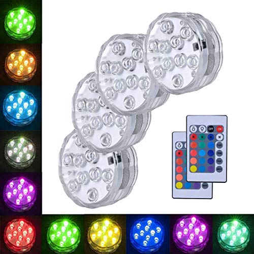 Submersible Light AndThere Multi kleuren LED Lights Afstandsbediening Waterdichte LED Base voor Aquarium, Vaas Base, Vijver, Zwembad, Tuin, Thuis Feest, Bruiloft, Kerstmis