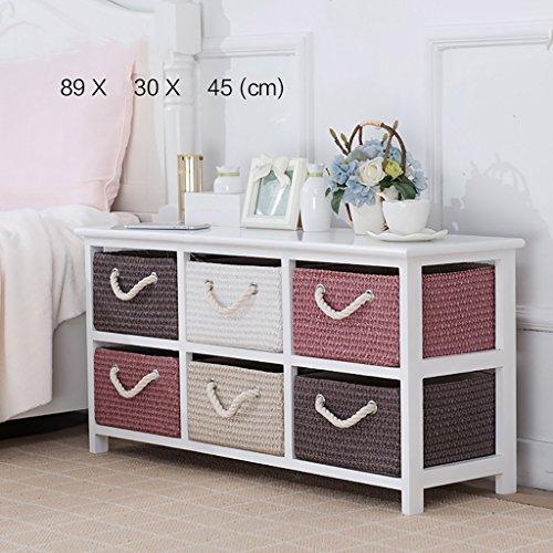 JHCTG Nachttisch Massivholz Rattan Aufbewahrungsbox Schublade Schlafzimmer Schließfächer