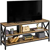 Topeakmart Industrial TV Stand for TV up to 65 inch for Living Room, 55' Entertainment Center TV Console Table with 3 Tier Storage Shelves Lengthened TV Cabinet Heave Duty, Rustic Brown