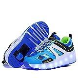 Zapatillas Deportivas LED para Niños Niña Niño LED Luces Skate Roller Zapatos con USB Recargable, Automáticamente Retráctiles Zapatos de Roller Moda Zapatillas de Deporte Luminosas Calzado de Depo