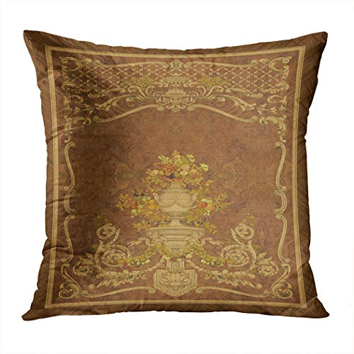 Sayakki Throw Pillow Cover Square 20 X 20 Inch Fancy Panels Rococo Baroque Incrustation Wood Veneer Cushion Home Decor Living Room Bedroom Office Polyester Pillowcase