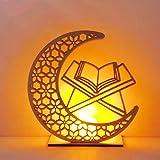 HHYSPA DIY Wooden Moon Lamp, Eid Mubarak Ramadan Decoration for Home Decorations,Party Supplies Night Light LED Lamp (Book)