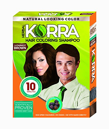 Korra Hair Coloring Shampoo 3. 0 Darkest Brown 30Ml Pack Of 08