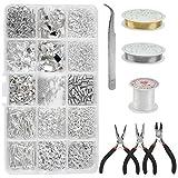 Fabricación de Joyas para Manualidades Kit 1228PCS Kit de Reparación de Joyas Kits de Pulseras de Bricolaje, Reparación de Abalorios y Fabricación de Joyas con Herramientas, Alicates, Pinzas, Cintas