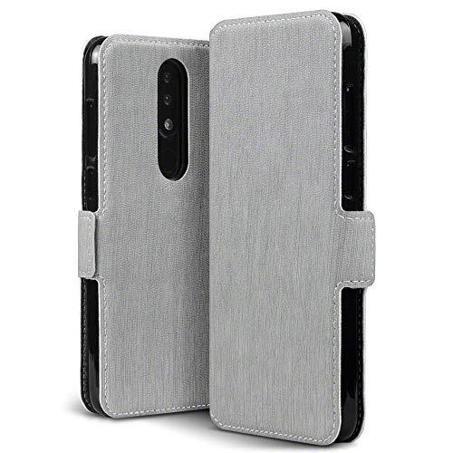 TERRAPIN, Kompatibel mit Nokia 5.1 Plus Hülle, Leder Tasche Hülle Hülle im Bookstyle mit Standfunktion Kartenfächer - Grau