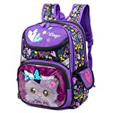 Debbieicy Cute Cat Face Printing Backpack Waterproof Princess School Bag Kids Bookbag for Primary Girls (purple cat black)
