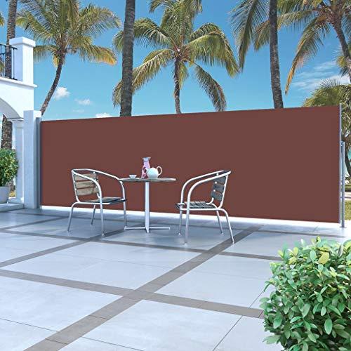 Festnight Ausziehbare Seitenmarkise 160 x 500 cm Braun | Sichtschutz Sonnenschutz Windschutz Wasserfest | Markise für Garten Balkon Terrasse