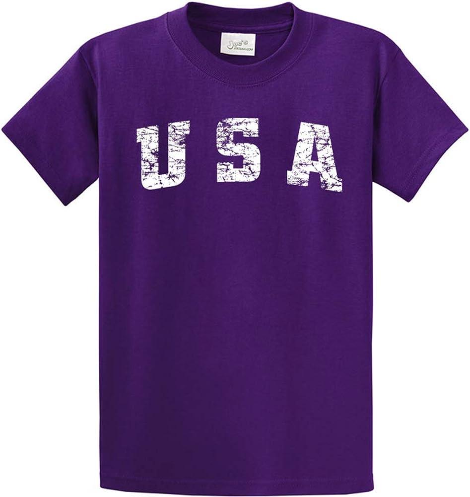 Joe's USA -Tall Vintage USA Logo Tee T-Shirts in Size 4X-Large Tall -4XLT Purple