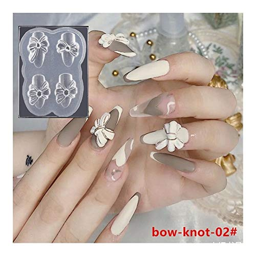 SSGLOVELIN 1pcs Silicone Nail Carving Moule 3D Papillon Bow-Noeud Moule Stamping Plate Nails Pochoirs Bricolage UV manucure Gel Outils Nail Art Beau (Color : 02)