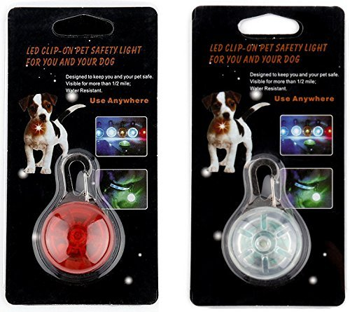 [New 2019] 2X LED Dog Collar Safety Lights, Clip on LED Lights for Bicycles, Running, Baby Strollers, Kids Backpacks (1 Red, 1 White)