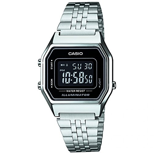 Casio Collection Damen-Armbanduhr LA680WEA 1BEF, Schwarz Zifferblatt