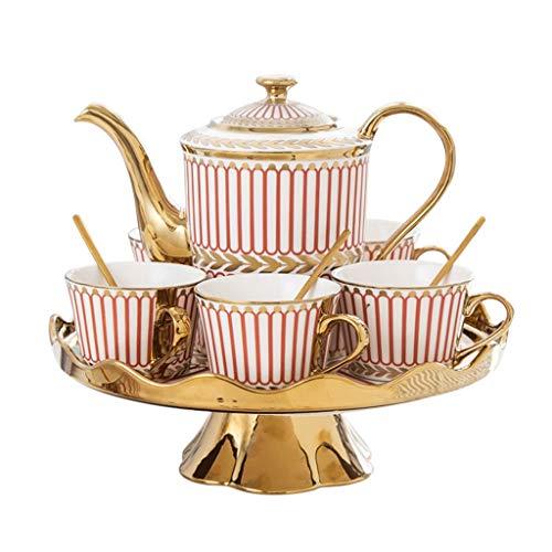 NXYJD Tazas de café de cerámica y pote Sistema de la Olla Tazas de té de la Leche de Desayuno con la Bandeja giratoria Webware 8 Piezas Regalos de Boda ecológicos (Color : Red)