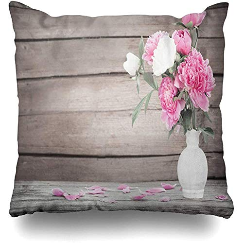 Throw Pillow Cover vaas roze tafel pioenroos op oud vers hout abstract antieke bloom bloesem Spring Home Decor kussensloop kussensloop