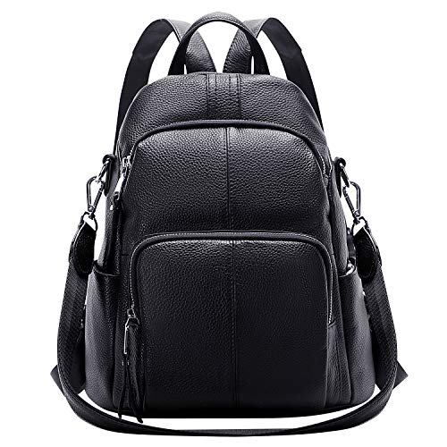ALTOSY Echtleder Damen Rucksack Tasche Elegant Anti-Diebstahl Tagesrucksack Schultertasche (S81, Schwarz)