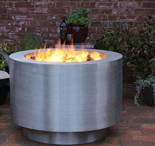 Lowest Price! Bentintoshape 38 Round Stainless Steel Fire Pit - Hidden Propane Tank